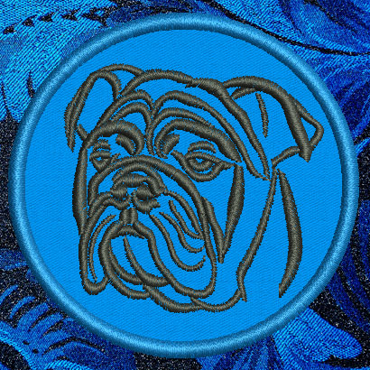 "Bulldog Portrait #1 - 6"" Large Embroidery Patch - Click Image to Close"