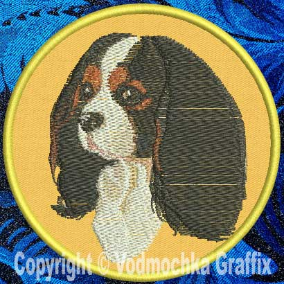 "Cavalier Spaniel BT3412 - 8"" Extra Large Embroidery Patch - Click Image to Close"