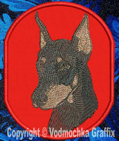 "Doberman BT2392 - 4"" Medium Embroidery Patch - Click Image to Close"