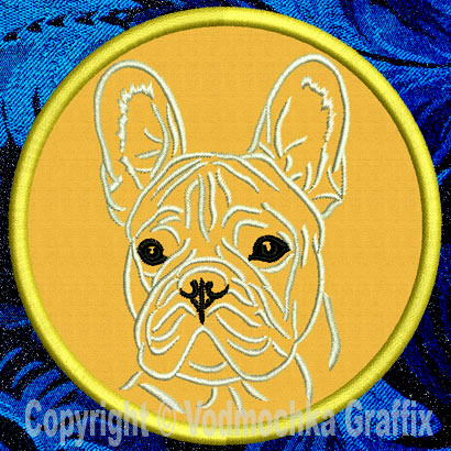 "French Bulldog Portrait #1C - 3"" Small Embroidery Patch - Click Image to Close"