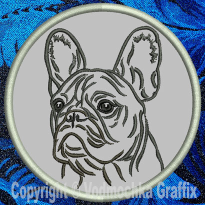 "French Bulldog Portrait #2A - 3"" Small Embroidery Patch - Click Image to Close"