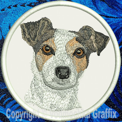 "Jack Russell Terrier HD Portrait #1 - 4"" Medium Embroidery Patch - Click Image to Close"
