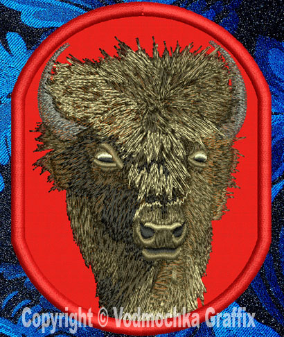 "Bison HD Portrait #1 - 6"" Large Embroidery Patch - Click Image to Close"