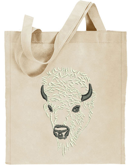 Bison Portrait #2 - White Buffalo - Embroidered Tote Bag #1 - Click Image to Close