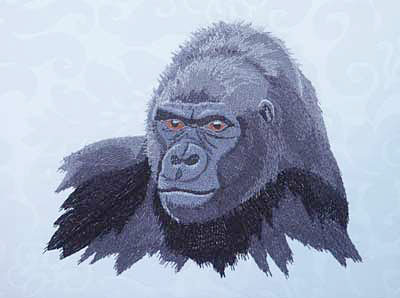Gorilla High Definition Embroidery Portrait #1 on Canvas 9X12 - Click Image to Close