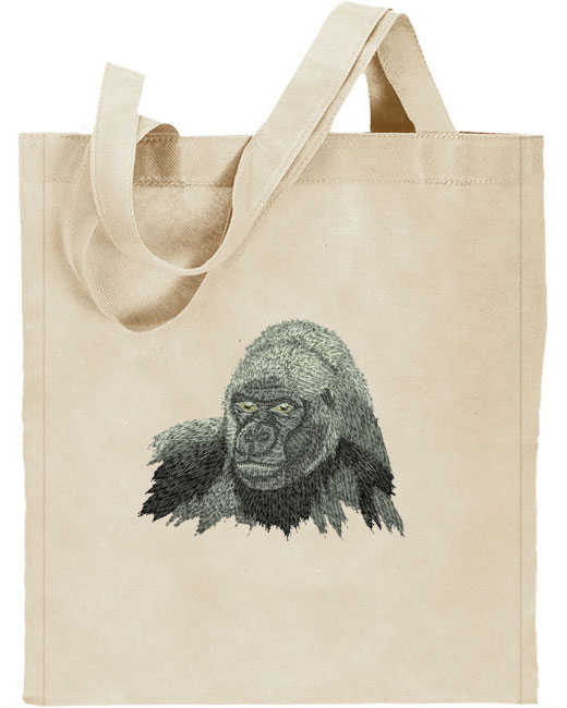 Gorilla HD Portrait #1 Embroidered Tote Bag#1 - Click Image to Close