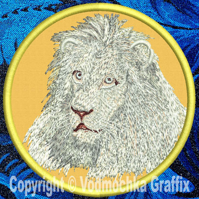 "Lion HD Portrait #2 10"" White Lion Embroidery Patch - Click Image to Close"