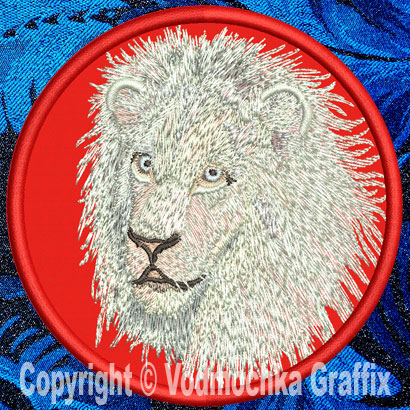 "Lion HD Portrait #4 10"" White Lion Embroidery Patch - Click Image to Close"