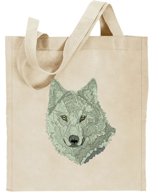 Wolf HD Portrait #2 Embroidered Tote Bag #1 - Click Image to Close
