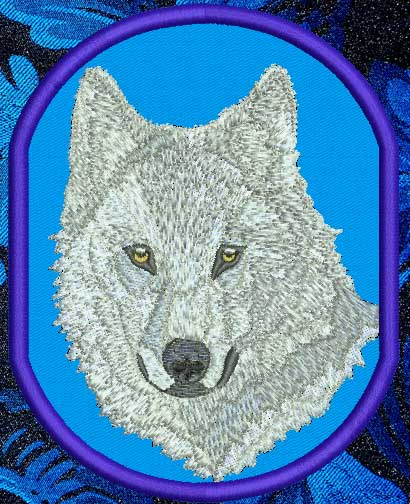 "Wolf HD Portrait #3 - 4"" Medium Size Embroidery Patch - Click Image to Close"