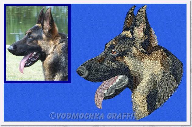 Shiloh Shepherd Portrait Custom Embroidery Portrait Digitizing Sample