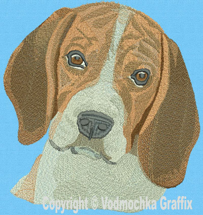 Beagle High Definition Portrait Embroidery Design Picture