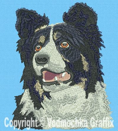 Border Collie High Definition Portrait Embroidery Design Picture