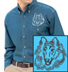 Rough Collie Portrait Embroidered Men's Denim Shirt for Collie Lovers - Click to Enlarge