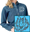 Rough Collie Portrait Embroidered Ladies Denim Shirt for Collie Lovers - Click to Enlarge
