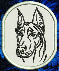Doberman Portrait Embroidery Patch - Click for More Information