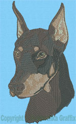 Doberman Portrait - Vodmochka Embroidery Design Picture - Click to Enlarge