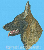 Sable German Shepherd Profile #2- Vodmochka Embroidery Design Picture - Click to Enlarge