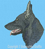 Black German Shepherd Profile #3 - Vodmochka Embroidery Design Picture - Click to Enlarge