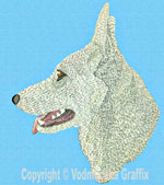 White German Shepherd Profile #3 - Vodmochka Embroidery Design Picture - Click to Enlarge