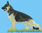 Black and Tan German Shepherd Standing HD#1 - Vodmochka Embroidery Design Picture - Click to Enlarge
