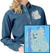 Maltese Agility #2 Embroidered Ladies Denim Shirt for Maltese Lovers - Click to Enlarge