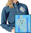 Maltese Agility #3 Embroidered Ladies Denim Shirt for Maltese Lovers - Click to Enlarge