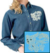 Maltese Agility #4 Embroidered Ladies Denim Shirt for Maltese Lovers - Click to Enlarge