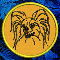 Papillon Dog Portrait Embroidery Patch - Click for More Information