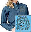 Black Pomeranian Portrait Embroidered Ladies Denim Shirt for Pomeranian Lovers - Click to Enlarge