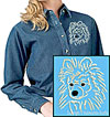 White Pomeranian Portrait Embroidered Ladies Denim Shirt for Pomeranian Lovers - Click to Enlarge