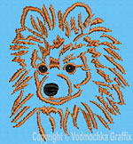 Pomeranian Portrait #3 - Vodmochka Embroidery Design Picture - Click to Enlarge