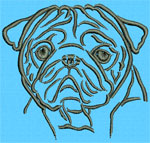 Pug Portrait - Vodmochka Embroidery Design Picture - Click to Enlarge