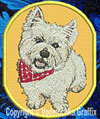 West Highland White Terrier BT1587 Embroidered Patch for West Highland White Terrier Lovers - Click to Enlarge