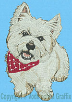 West Highland White Terrier Portrait BT1587- Vodmochka Embroidery Design Picture - Click to Enlarge