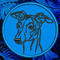 Whippet Portrait Embroidery Patch - Click for More Information