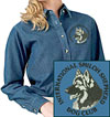 International Shiloh Shepherd Dog Club Logo Embroidered Ladies Denim Shirt - Click to Enlarge
