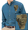 High Dfinition Bison Portrait Embroidered Mens Denim Shirt for Bison Lovers - Click to Enlarge