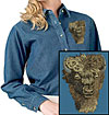 High Dfinition Bison Portrait Embroidered Ladies Denim Shirt for Bison Lovers - Click to Enlarge