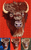 Bison High Definition Embroidery Portrait #1 on canvas for Bison Lovers