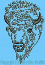 Bison Portrait #1- Vodmochka Embroidery Design Picture - Click to Enlarge
