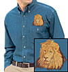 High Definition Lion Portrait Embroidered Mens Denim Shirt for Lion Lovers - Click to Enlarge