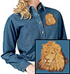 High Definition Lion Portrait Embroidered Ladies Denim Shirt for Lion Lovers - Click to Enlarge