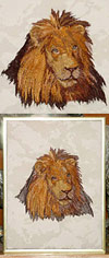 Lion Embroidery Portrait on canvas for Lion Lovers