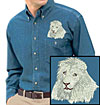 High Definition White Lion Portrait HD2 Embroidered Mens Denim Shirt for Lion Lovers - Click to Enlarge