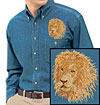 High Definition Lion Portrait #3 Embroidered Mens Denim Shirt for Lion Lovers - Click to Enlarge