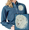 High Definition White Lion Portrait HD4 Embroidered Ladies Denim Shirt for Lion Lovers - Click to Enlarge