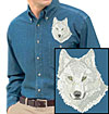 Artctic Wolf High Definition Portrait #3 Embroidered Mens Denim Shirt for Wolf Lovers - Click to Enlarge