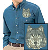 Grey Wolf High Definition Portrait #4 Embroidered Mens Denim Shirt for Wolf Lovers - Click to Enlarge