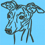 Whippet Portrait - Vodmochka Embroidery Design Picture - Click to Enlarge